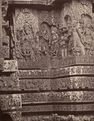 Hullabeed. The Great Temple. Sculptures from southern vimana. [Hoysaleshwara Temple, Halebid.]